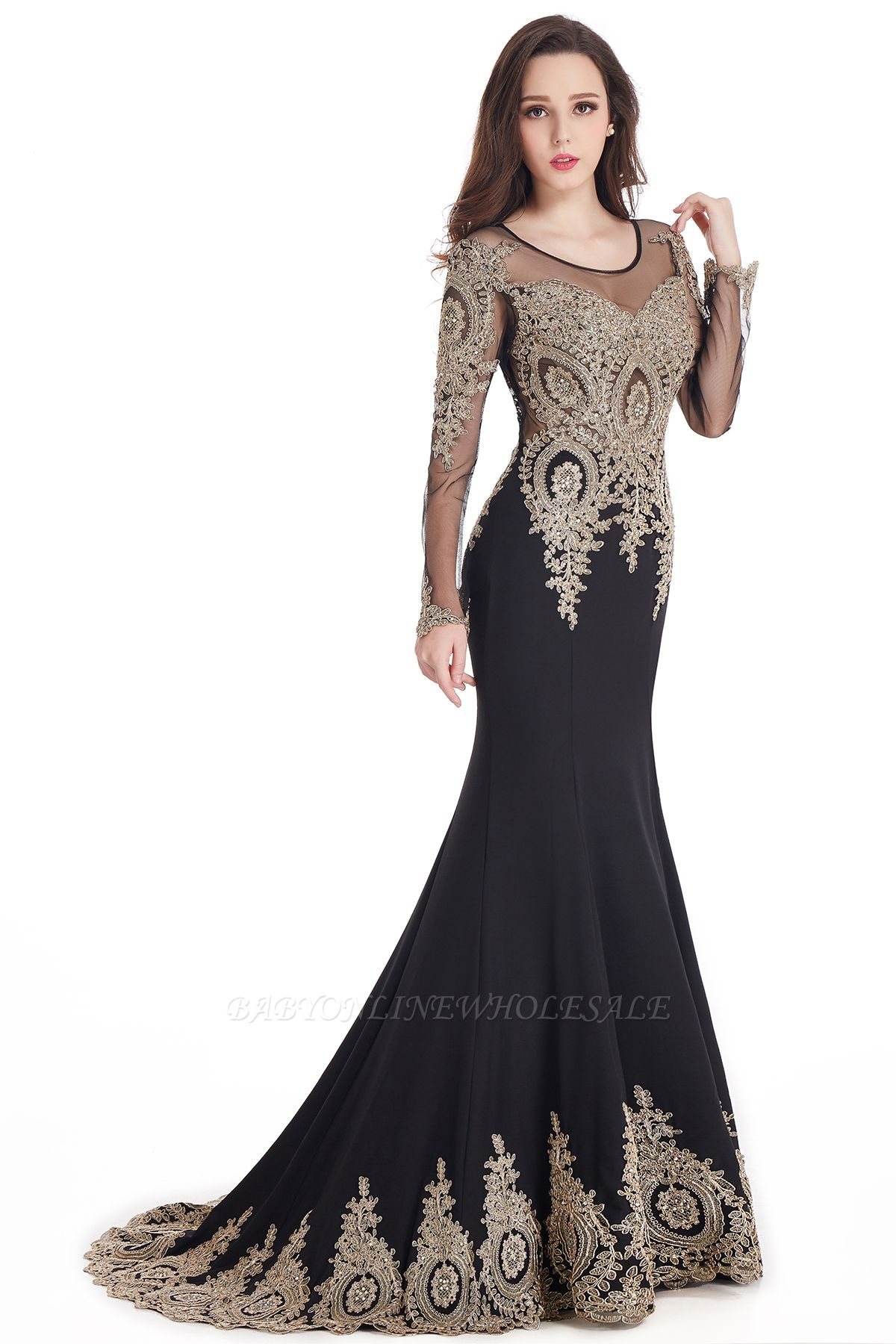 Crystal   Sexy Mermaid Lace Appliques Long Sleeves Prom Dresses with Beadings