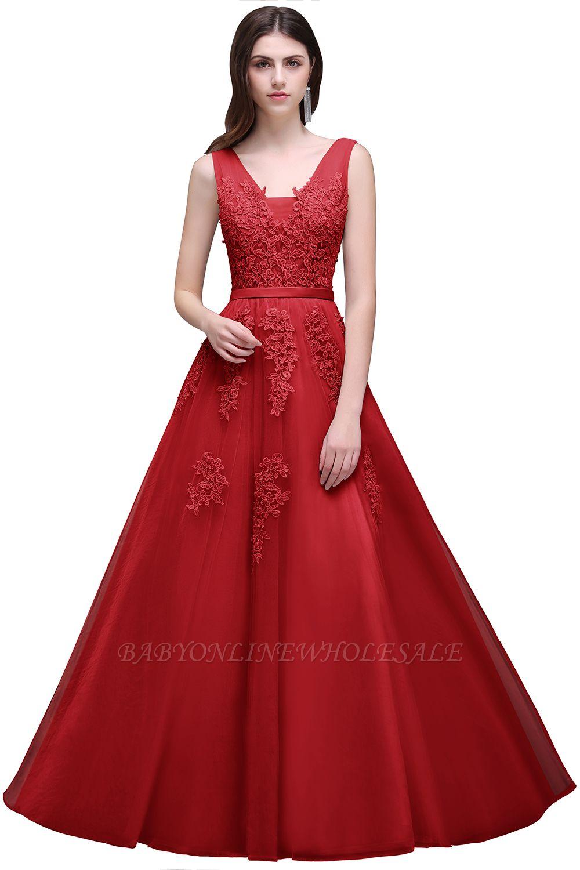 V-Ausschnitt A-Linie Bodenlanges Tüll Brautjungfernkleid | Brautjungfer Kleid Mit Applikationen