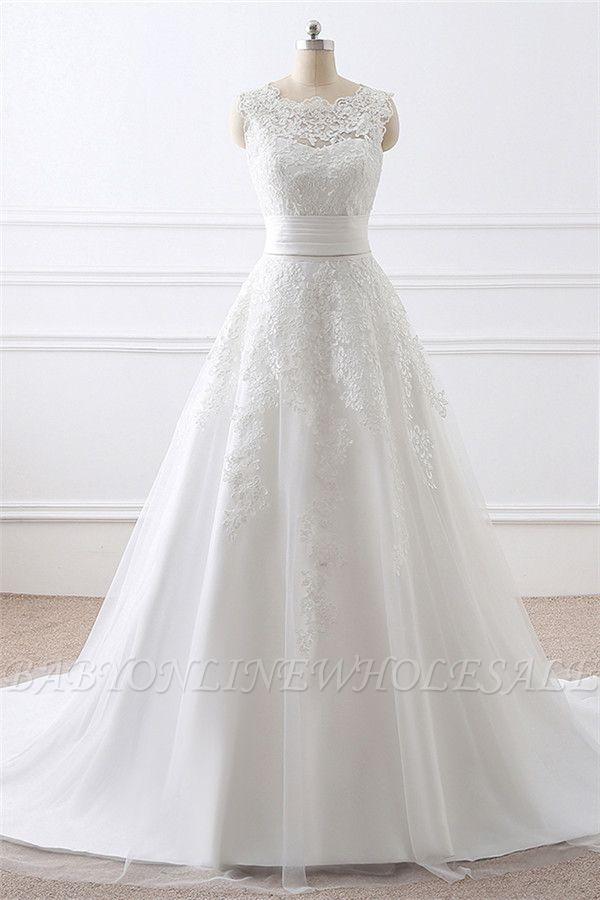 ALIYA   Sheath Scoop Lace Wedding Dresses with Detachable Skirt