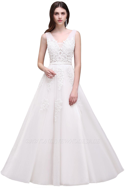 ADDYSON | Uma linha do assoalho-comprimento vestido de dama de tule com apliques