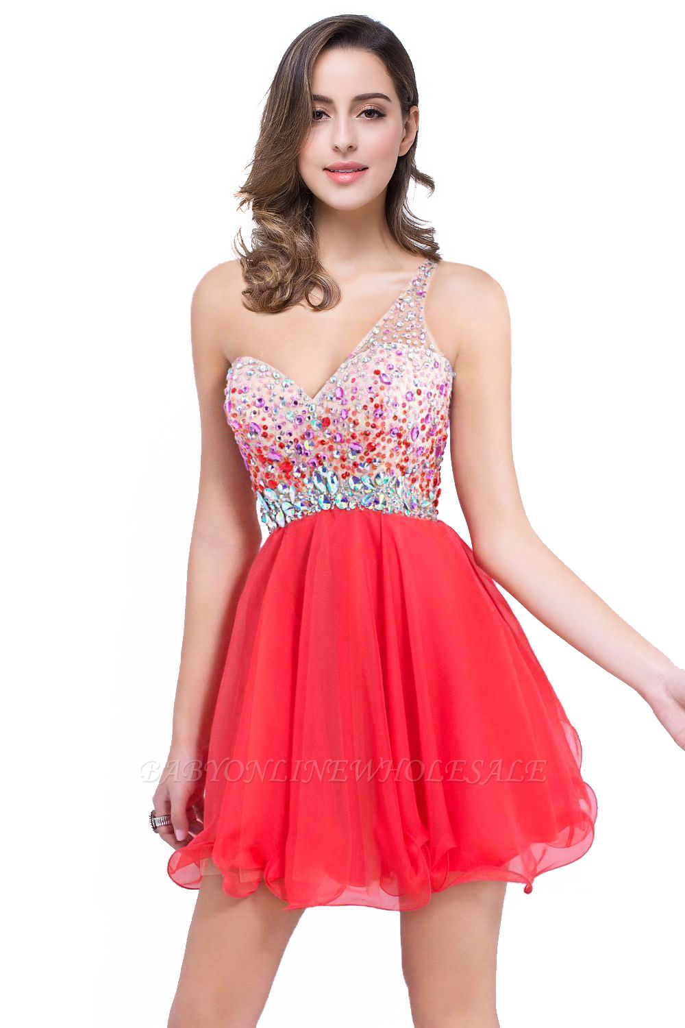 CATALINA | A-line One Shoulder Chiffon Party Dress With  Crystal
