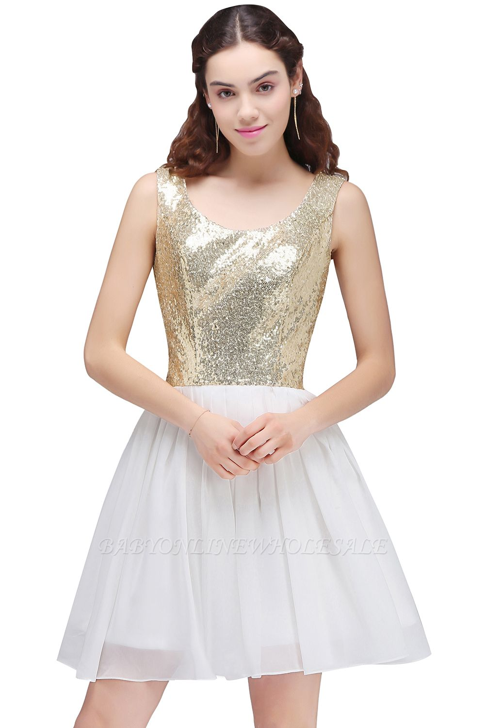 CAROLYN | A-line Scoop Short Sequins White Cute Homecoming Dresses with Sequins
