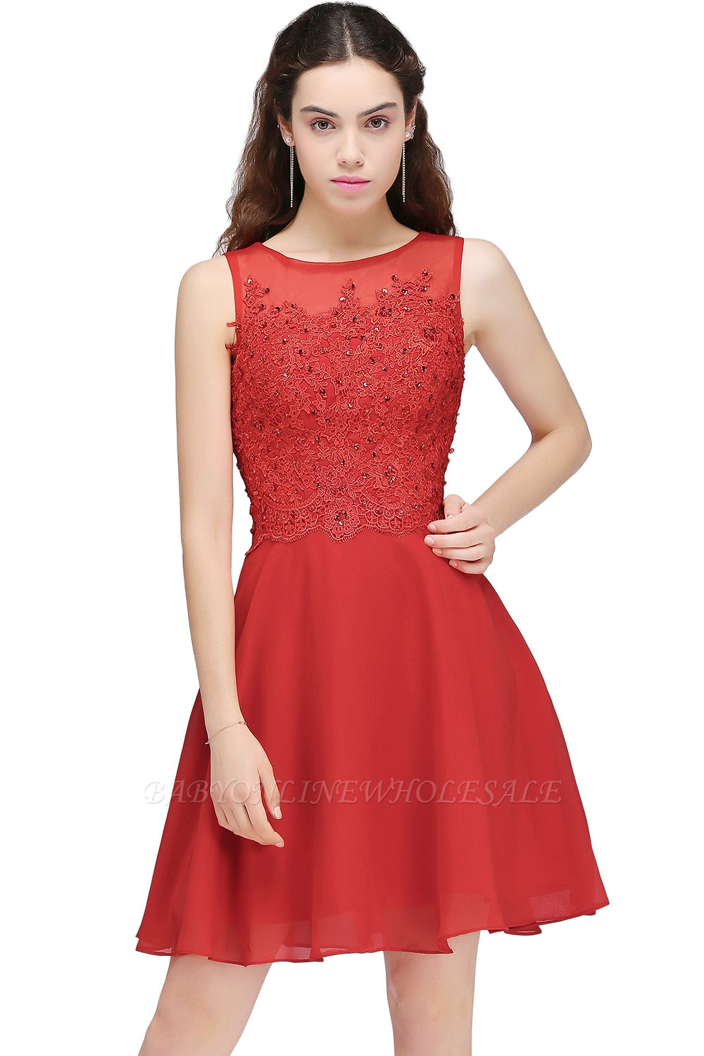 CASEY | A-line Short Chiffon Red Homecoming Dresses with Lace Appliques
