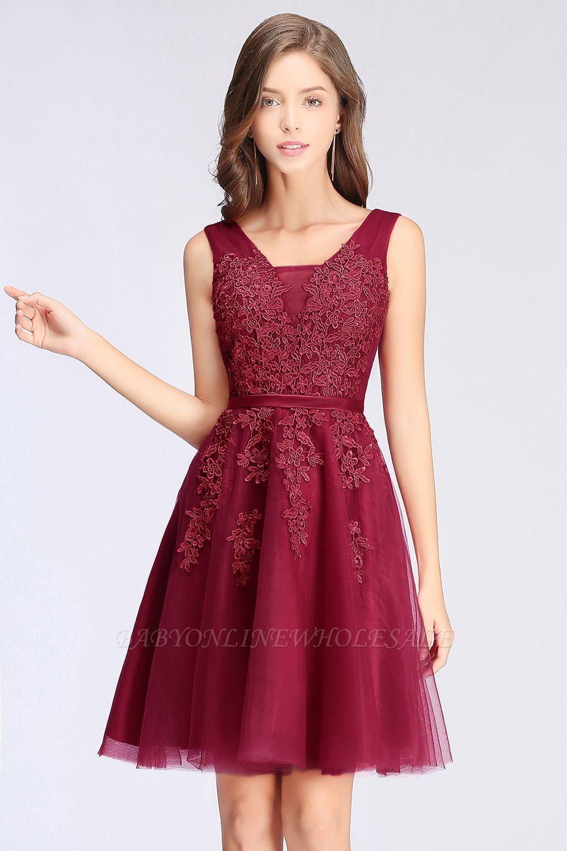 ADDILYNN   Платье выпускного вечера из тюля длиной до колена с аппликациями