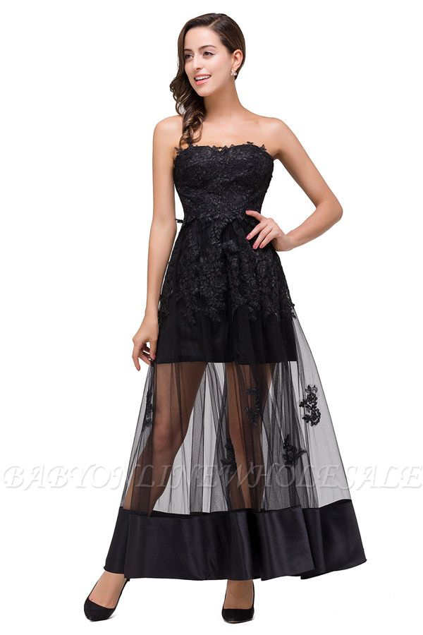 GWENDOLYN | Sexy A-line Strapless Knee-length Lace-Up Black Prom Dresses With Applique