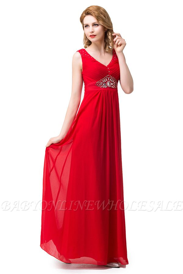 HANNAH | A-line V-neck Knee-length Ruffle Red Bridesmaid Dresses With Crystal