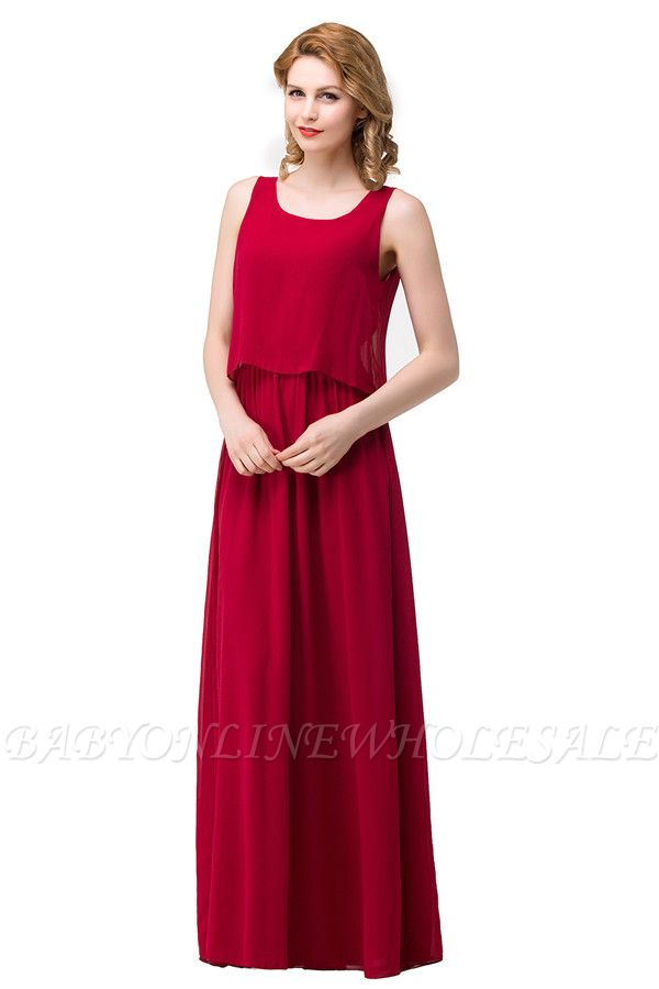 HARLEE | A-line Square Floor-length Chiffon Bridesmaid Dresses