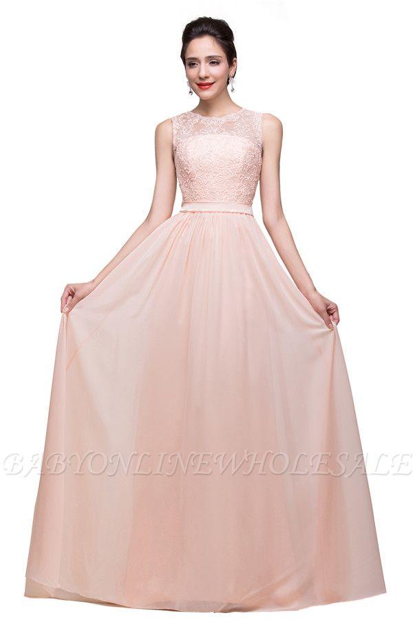 HADLEIGH | A-line Crew Floor-length Sash Chiffon Bridesmaid Dresses With Applique