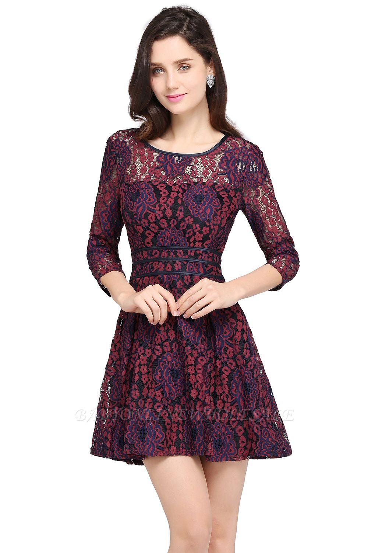 Elegantes Spitze Kleid Kurz | A-Linie Kleider Mit Langarm