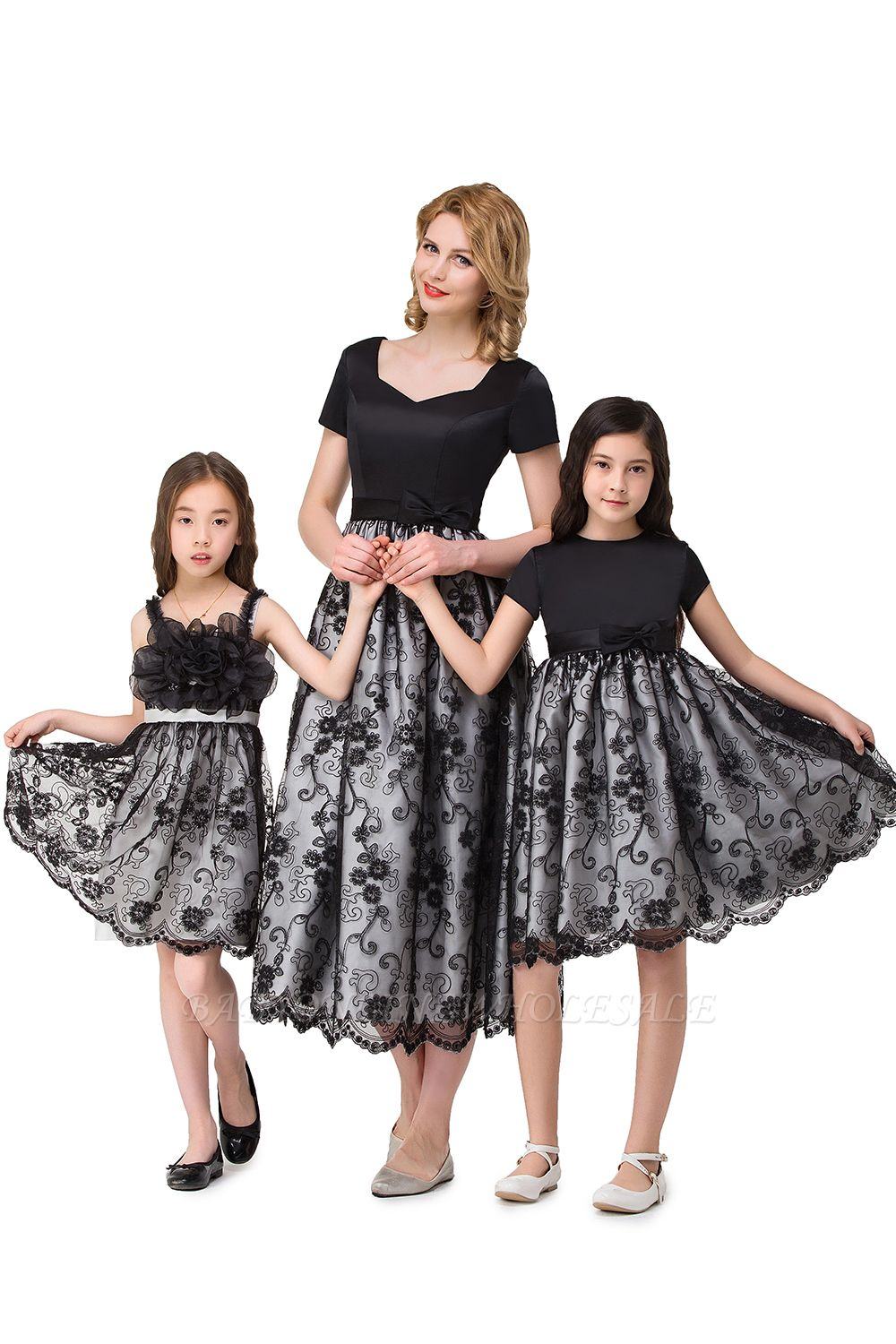 HEATHER| A-line Short Bowknot Flower Black Lace Mother Daughter Dresses