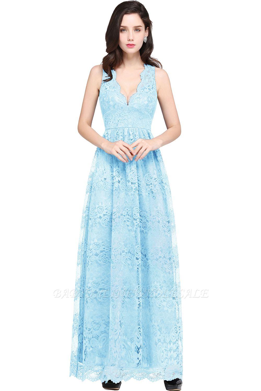 Schlichte Spitze Kleider Dunkelblau   Schöne Kleider V-Ausschnitt
