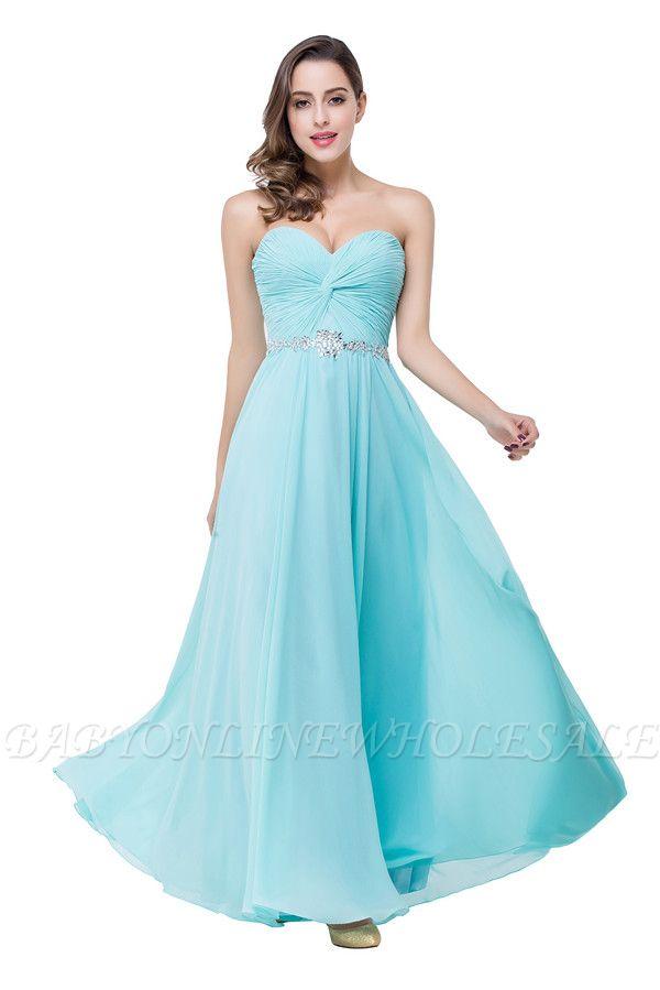 Blaue A-Linie Bodenlangen Brautjungfernkleider Schuterfrei | Chiffon Brautjungfer Kleider Mit Kristall