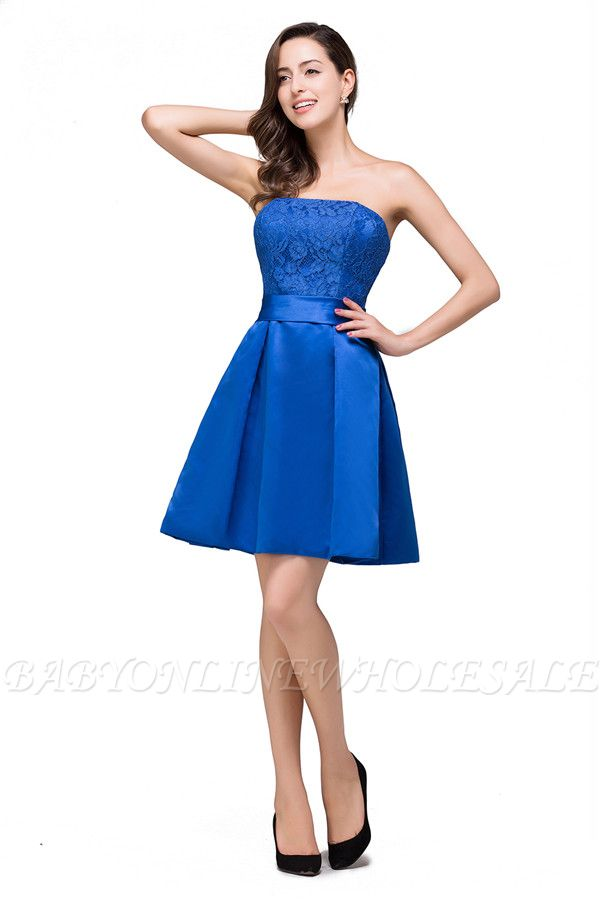 HANA | A-line Strapless Mini Lace-up Sashes Bridesmaid Dresses With Applique
