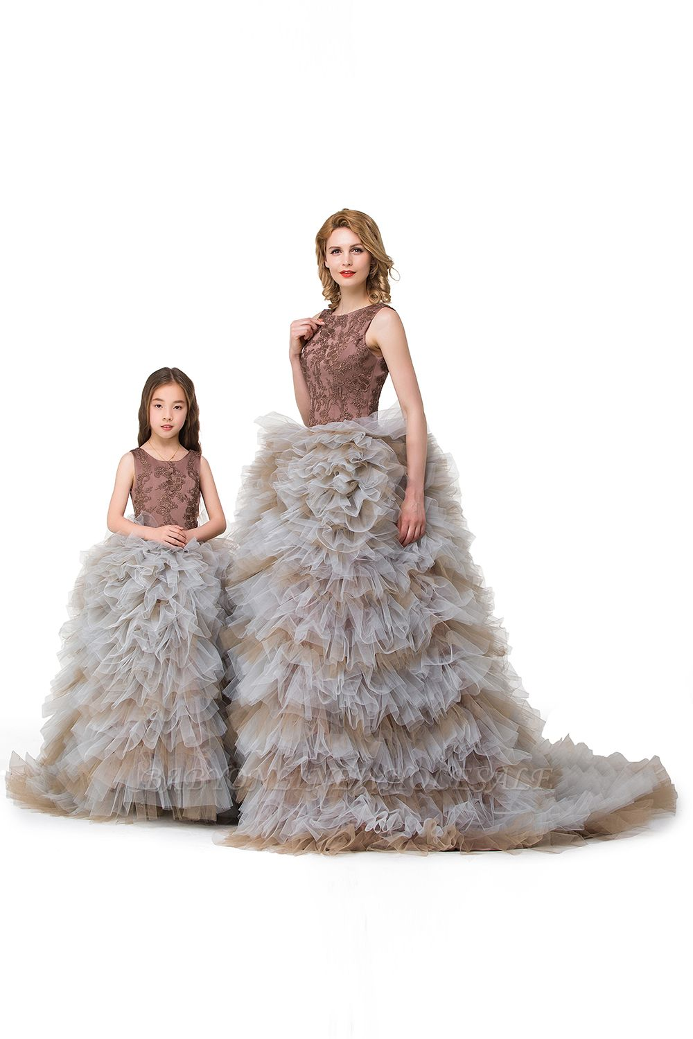 HEAVEN| Ball Gown Court Train Jewel Sleeveless Tulle Embroidery Mother Daughter Dresses
