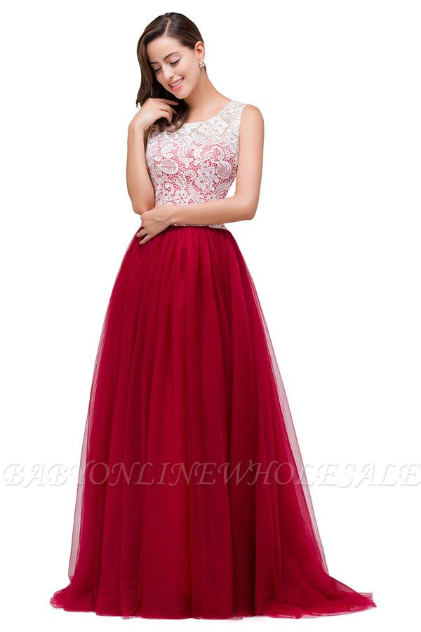 HANNA   A-line Crew Sweep-length Lace Chiffon Burgundy Bridesmaid Dresses With Button