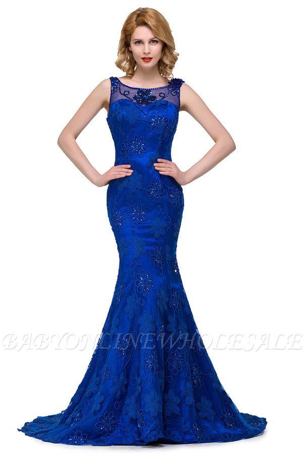 GWEN | Mermaid Bateau Sweep-length Form Dresses With Applique Crystal
