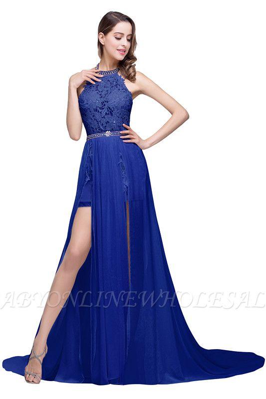 ADELE | Vestido de noche de gasa halter de una línea con encaje