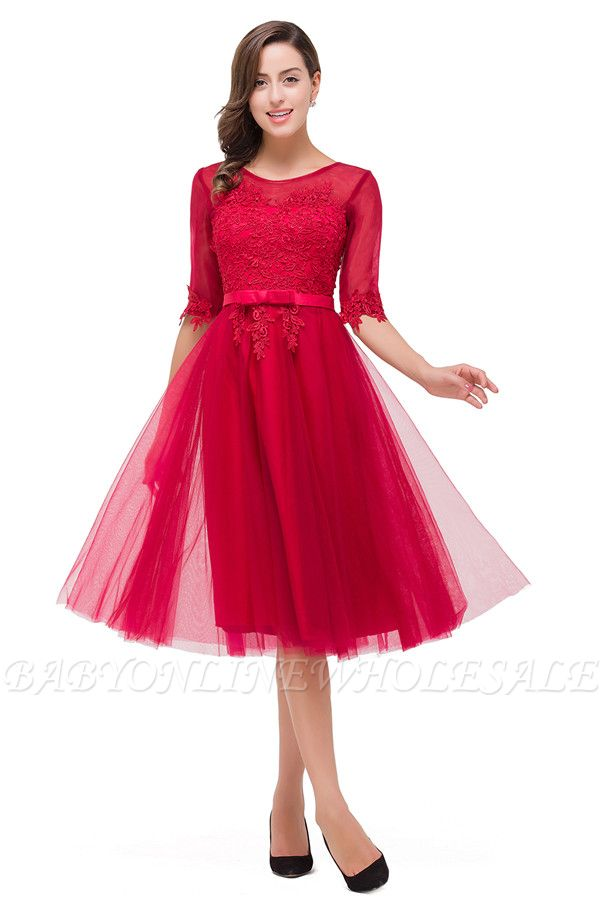 HARPER | A-line Crew Knee-length Half Sleeve Sashes Bridesmaid Dresses With Applique