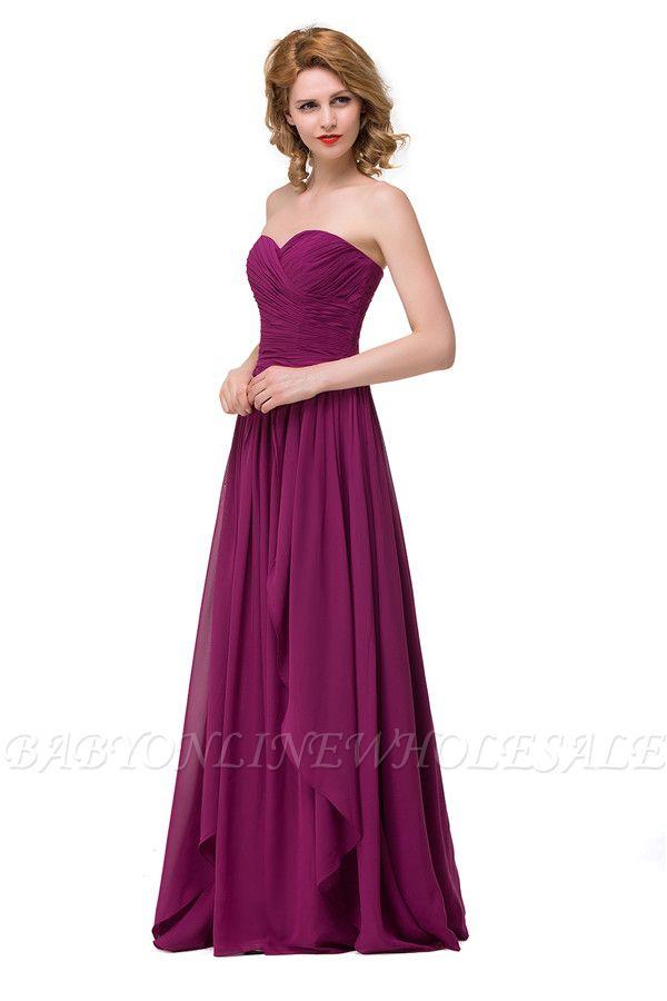 Sexy A-linie Bodenlangen Chiffon Brautjungfernkleider   Elegante Brautjungfernkleider Günstig