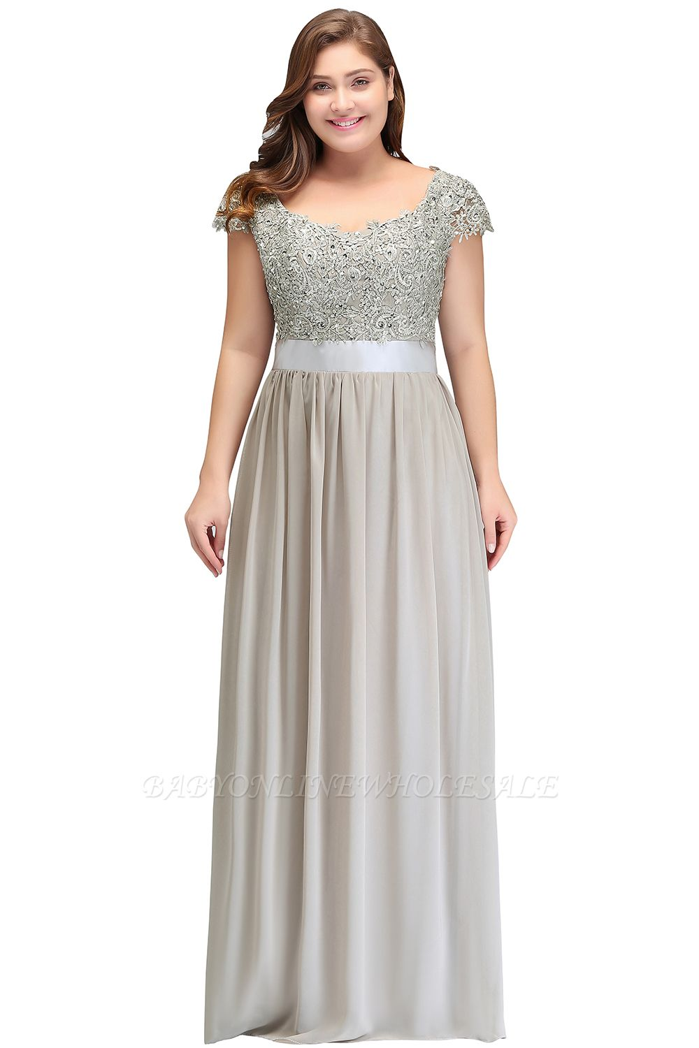 HOLLAND   A-Line Scoop Floor Length Cap Sleeves Appliques Silver Evening Dresses with Sash