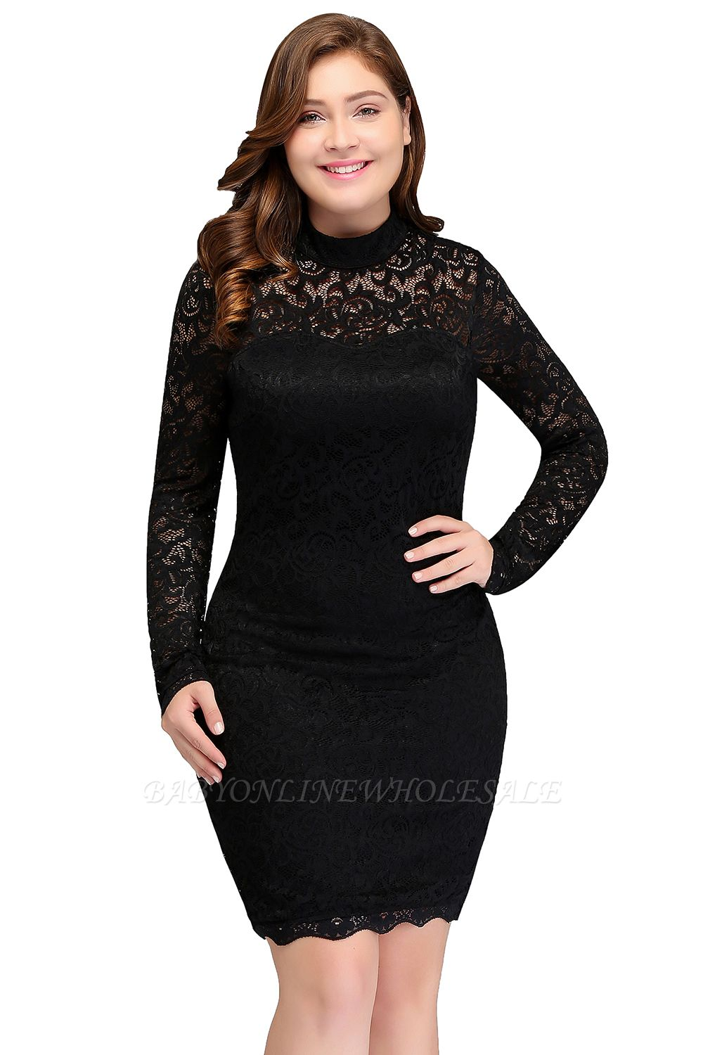 JANE | Mermaid Crew Short Long Sleeves Lace Black Plus size homecoming  Dresses
