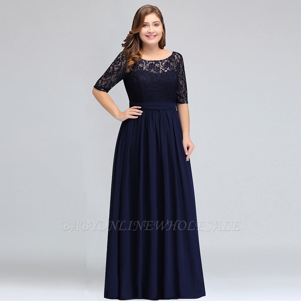 IVANNA   A-Line Scoop Half Sleeves Long Navy Blue Plus size ...