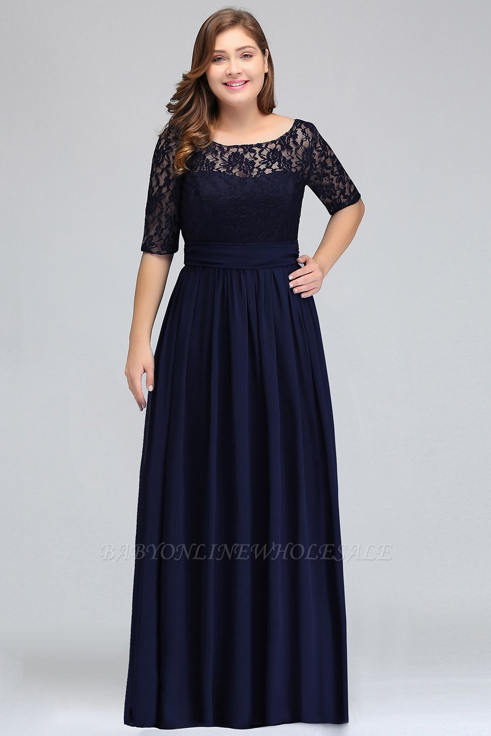 IVANNA | A-Line Scoop Half Sleeves Long Navy Blue Plus size bridesmaid Dresses with Lace