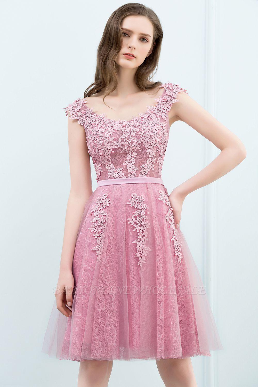 WILMA | Vestido de bola Illusion escote longitud de té encaje Tul Dusty Pink Prom Vestidos con abalorios