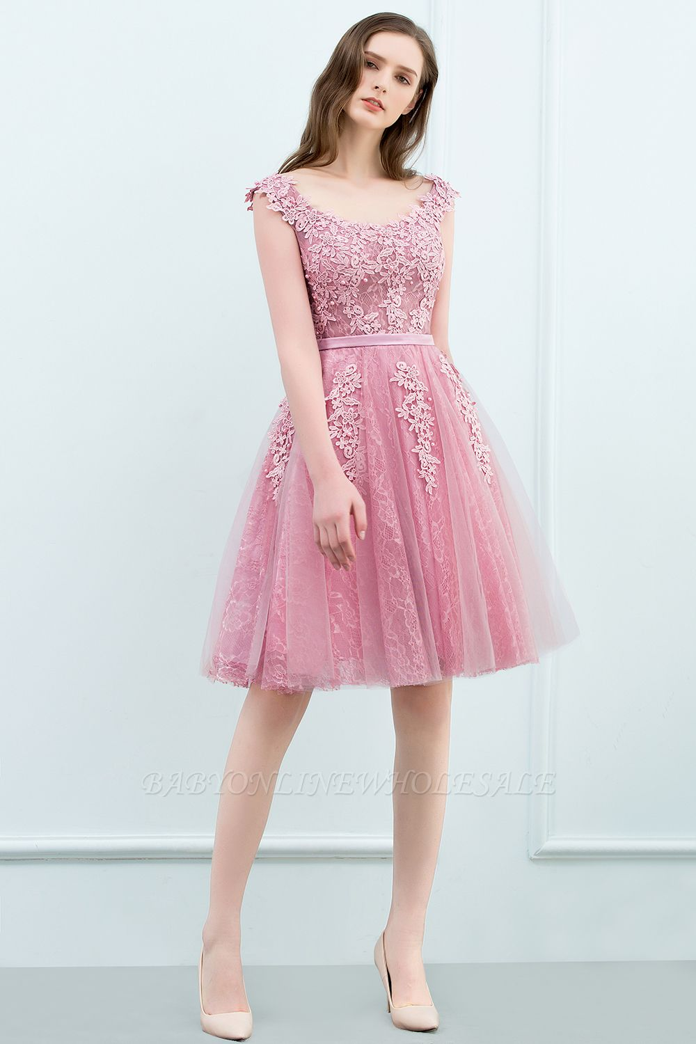 WILMA | Ball Gown Illusion Neckline Tea Length Lace Tulle Dusty Pink ...