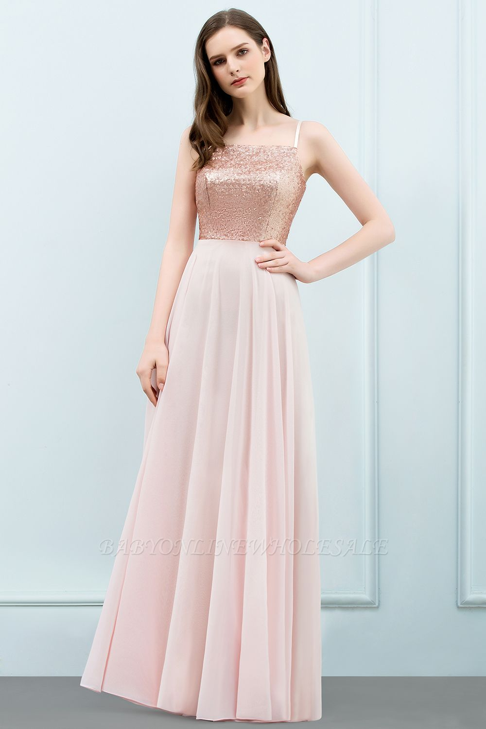 JORDYN | A-line Floor Length Spaghetti Sequined Top Chiffon Prom Dresses