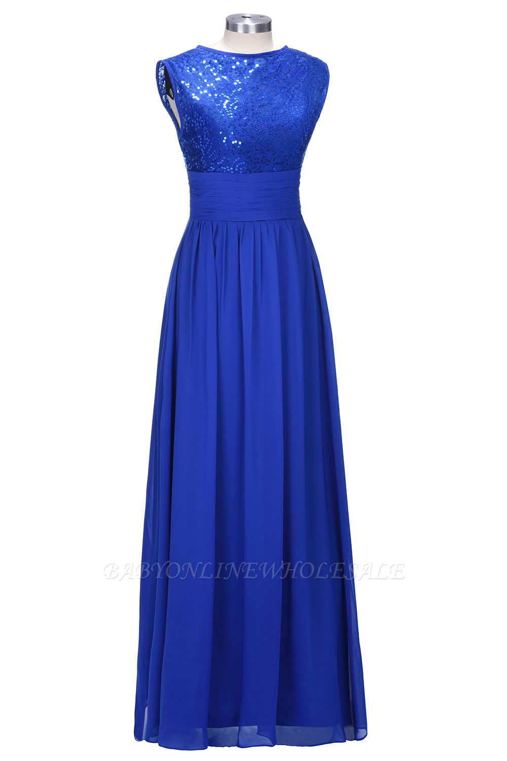 VICKI | A-line Sleeveless Crew Long Sequined Lace Chiffon Bridesmaid Dresses
