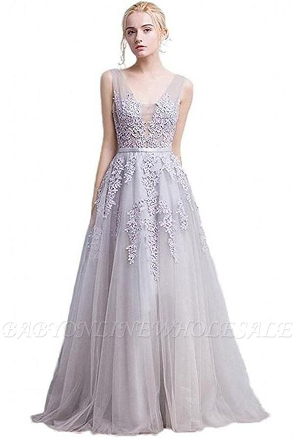ADDYSON | A-line Floor-length Tulle Bridesmaid Dress with Appliques