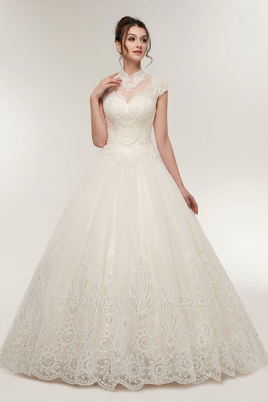 Elegantes Brautkleid Schlicht Modern Online Kaufen | Hochzeitskleider Weiss MIt Tüll Und Spitze