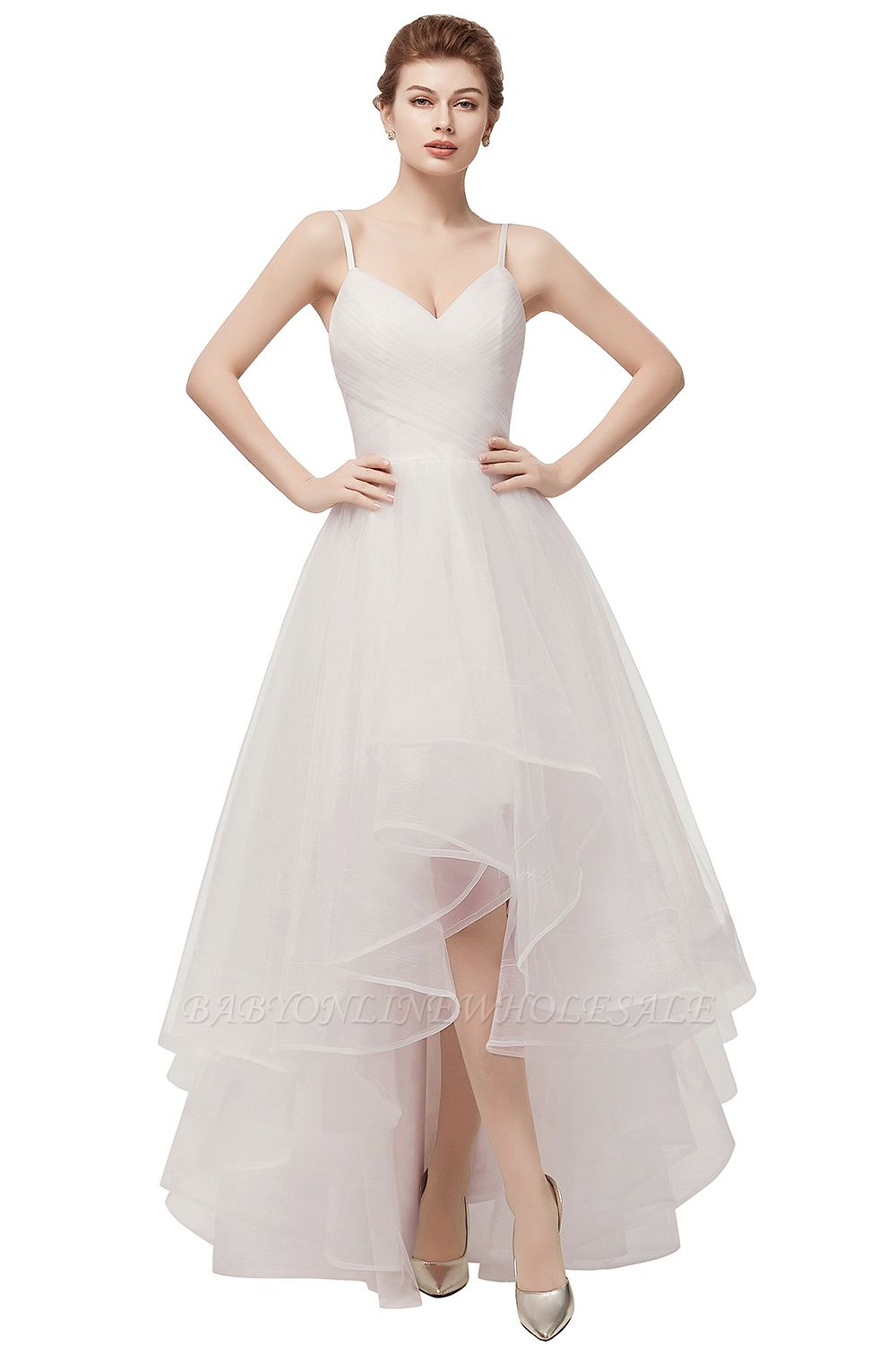 YVONNE | A-line Hi-lo Spaghetti Sweetheart Tulle Ivory Wedding Dresses with Ruffles