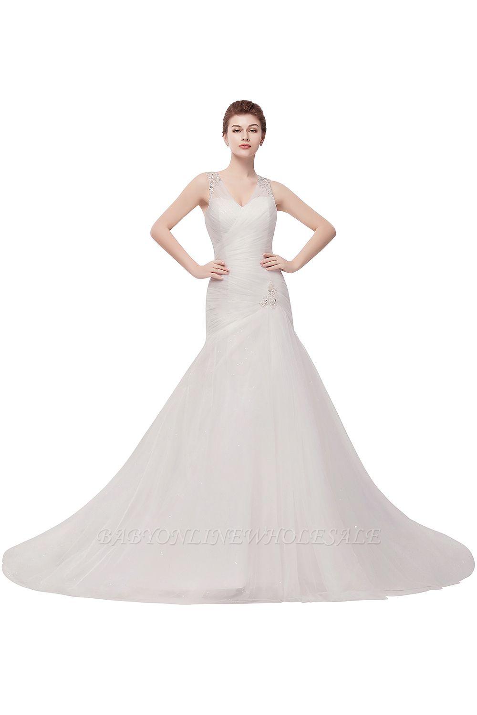 WENDY | Meerjungfrau V-Ausschnitt bodenlangen Tüll Brautkleider mit Kristallen