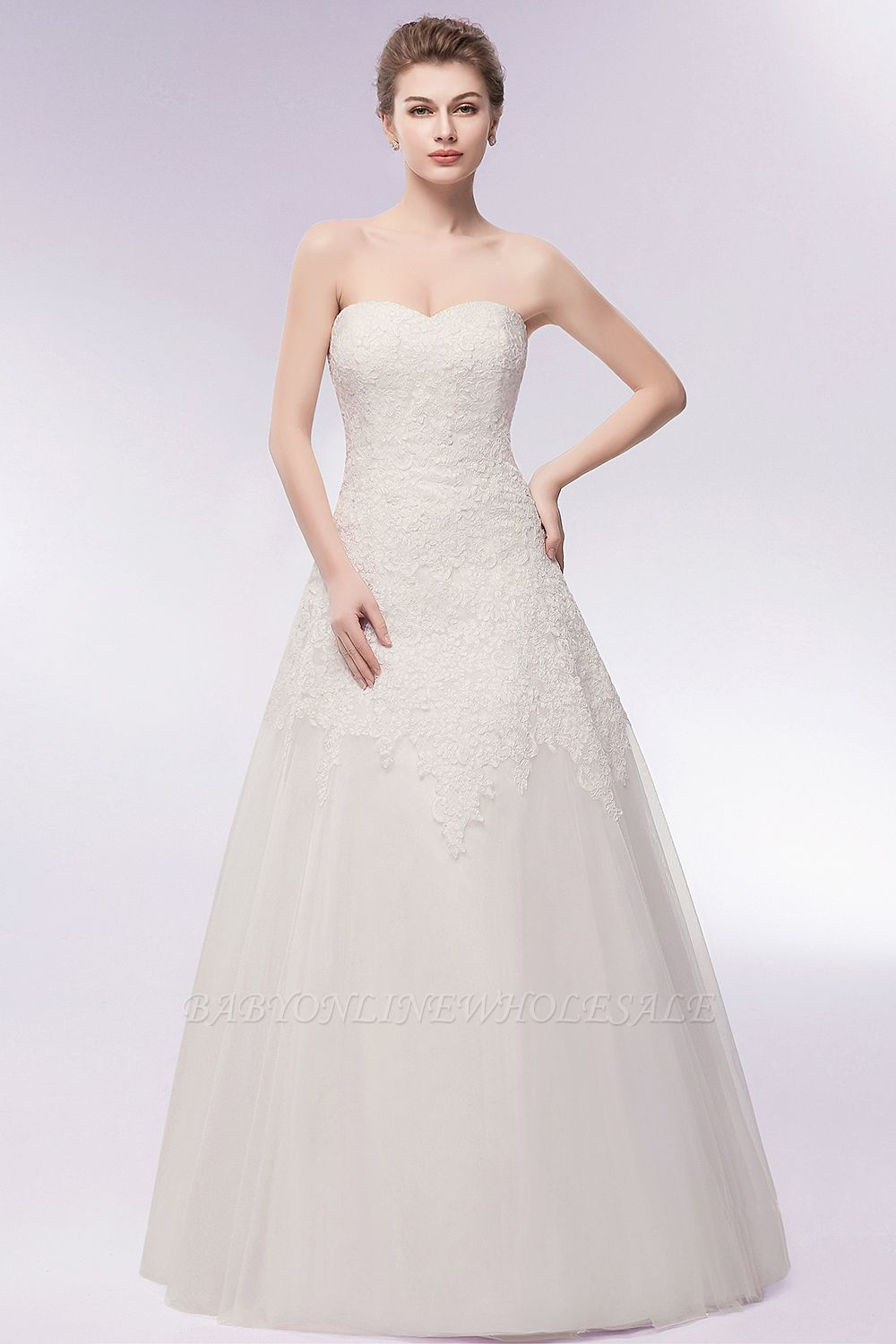 WIHELMINA | A-line Sweetheart Strapless Long Lace Tulle Wedding Dresses