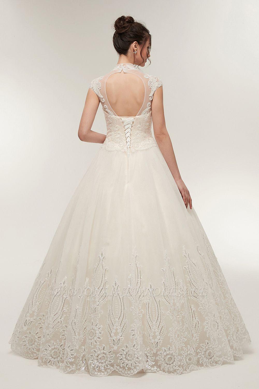 Elegantes Brautkleid Schlicht Modern Online Kaufen  Hochzeitskleider Weiss  MIt Tüll Und Spitze