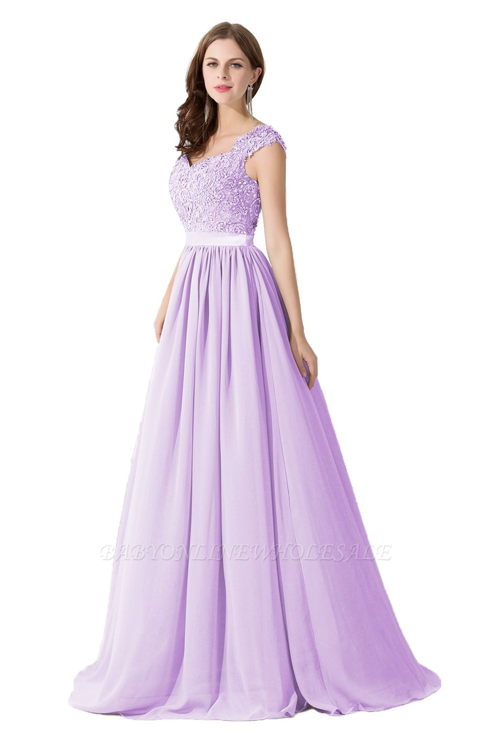 ADA | A-line V Neck Chiffon Bridesmaid Dress with Appliques