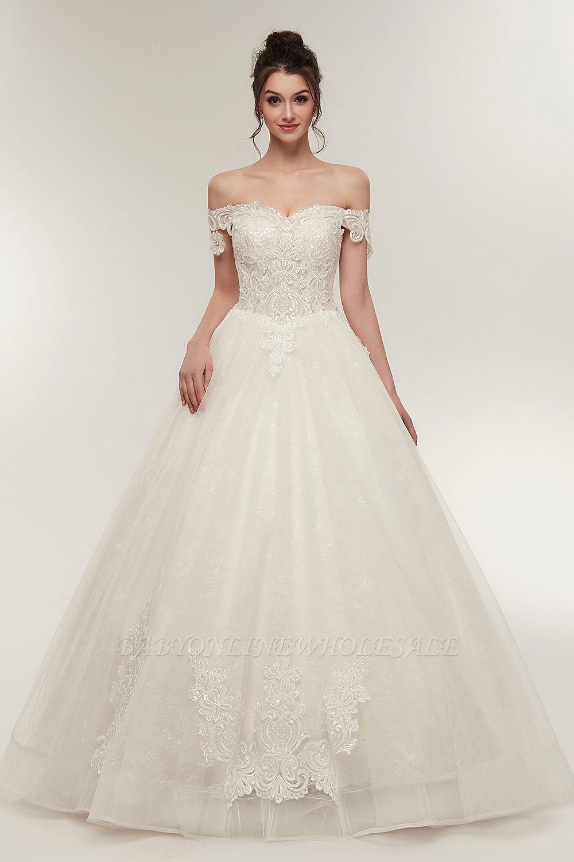 ZOLA | A-line Off-плечо Милая Длина пола Кружева Appliques Свадебные платья с Lace-up