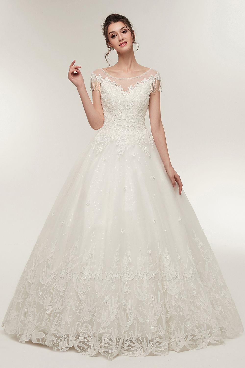 YVETTE | A-line Cap Sleeves Scoop Floor Length Lace Appliques Wedding Dresses with Crystals
