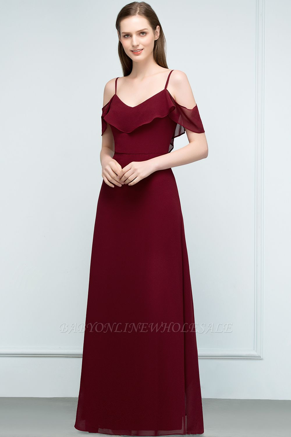 JULIANA | A-line Spaghetti Off-shoulder V-neck Long Chiffon Prom Dresses