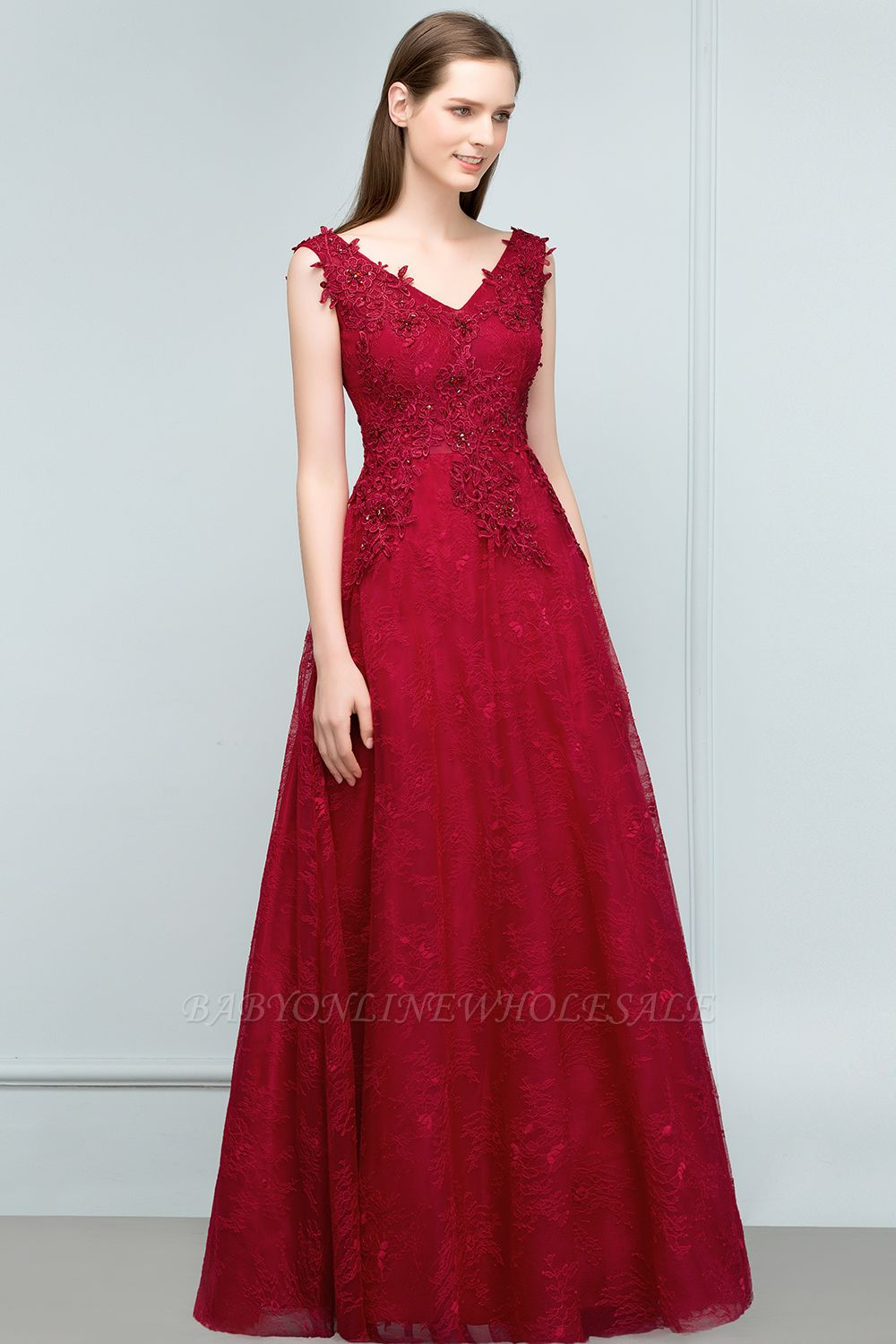 JUDITH | A-line V-neck Long Sleeveless Lace Appliques Prom Dresses with Crystals