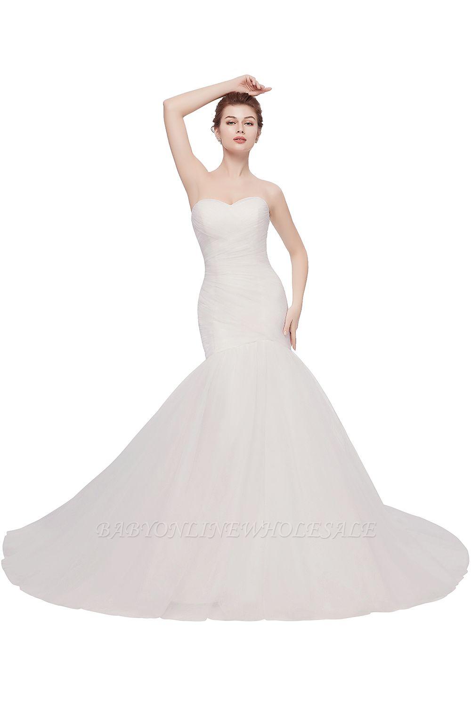Elegante Brautkleider Meerjungfrau Schlicht | Brautkleider Trägerlos Tüll Mit Schleppe