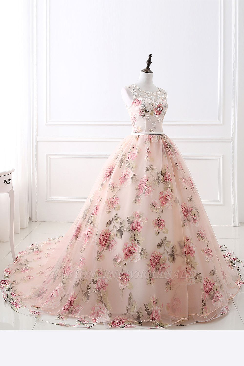 ALIA | Ball Gown Sweetheart Vintage Organza Evening Dresses With Print