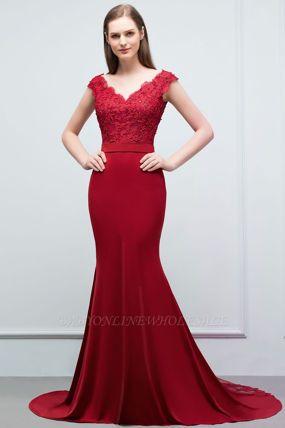 JOURNEY | Mermaid Floor Length V-neck Appliques Beads Prom Dresses with Sash
