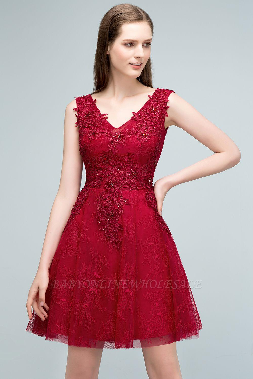 JULIA | A-line Sleeveless Short V-neck Lace Appliqued Tulle Prom Dresses