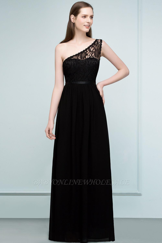 SYBIL | A-line One-shoulder Floor Length Lace Chiffon Bridesmaid Dresses with Sash