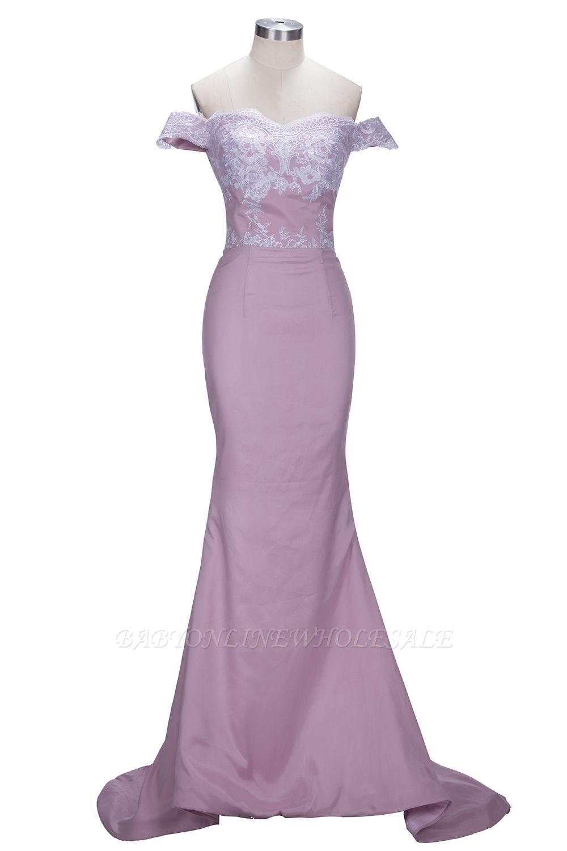 VIRGINIA | Meerjungfrau Off-the-Shoulder-Spitze Applikationen Blushing Pink Prom Kleider