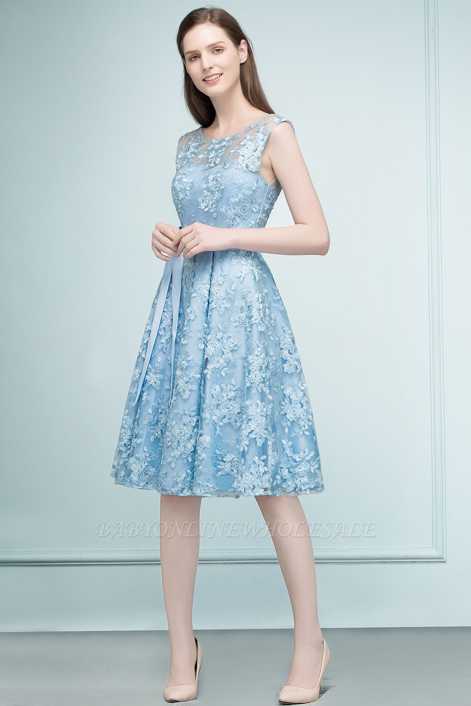 RENATA | A-line Sleeveless Knee Length Appliques Homecoming Dresses with Robbin Sash
