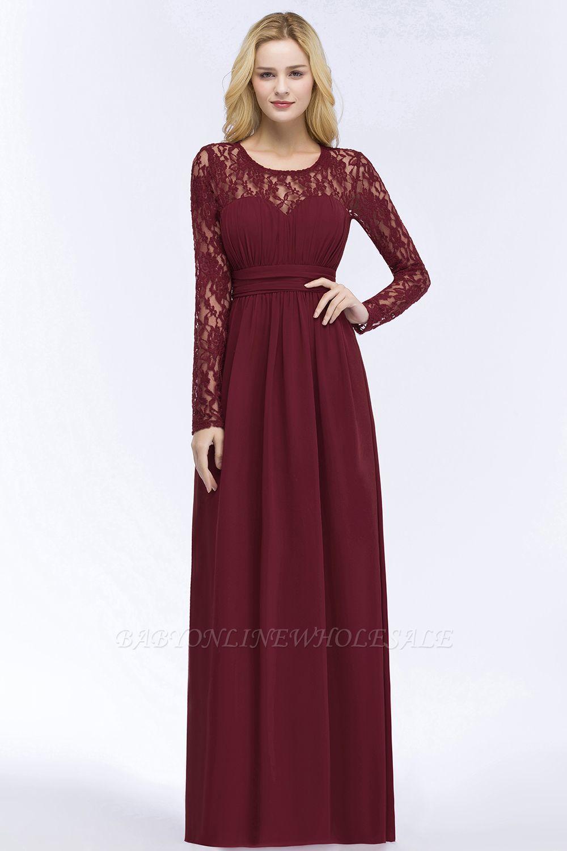 ROSALIE | A-line Floor Length Long Sleeves Lace Chiffon Bridesmaid Dresses